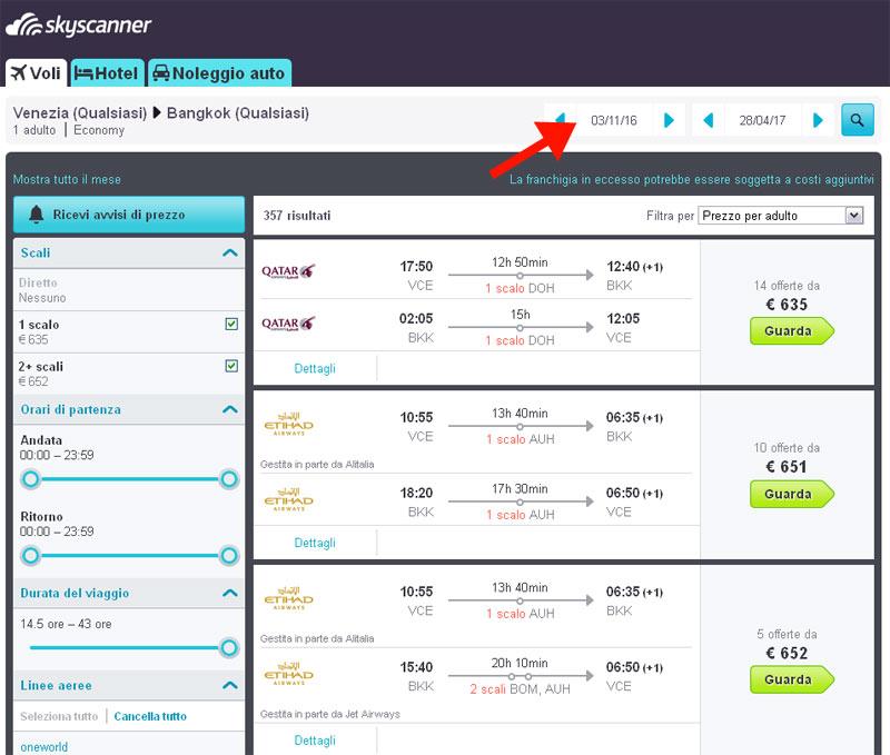 prezzi voli per la thailandia